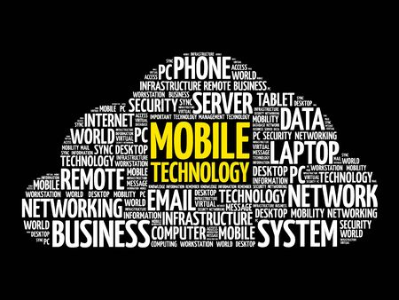 multimedia icons: Mobile technology word cloud collage, business concept background