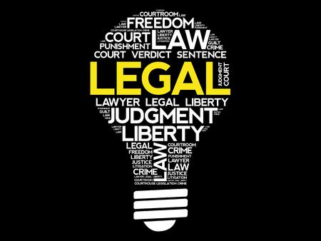 criminal: Legal bulb word cloud collage, concept background