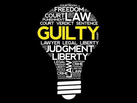 criminal: Guilty bulb word cloud collage, concept background