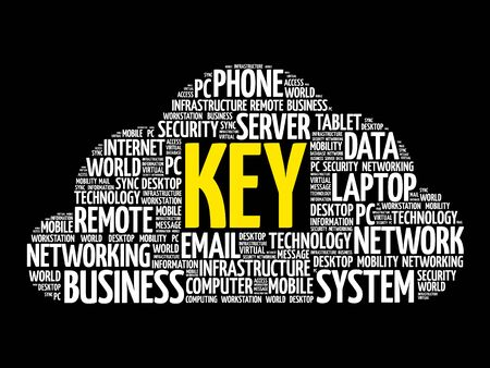 KEY word cloud collage, business concept design. Illustration