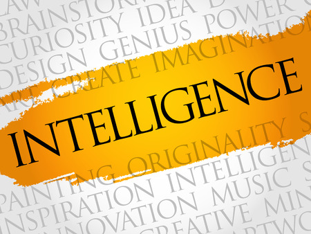 Intelligence word cloud collage, business concept background Illustration