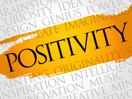 Positivity word cloud collage, creative business concept background