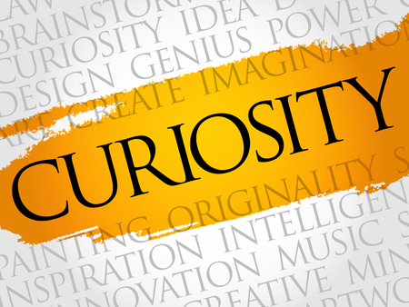 Curiosity word cloud collage, creative business concept background Illustration