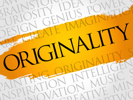 web marketing: Originality word cloud collage, creative business concept background