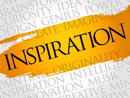 planning: Inspiration word cloud collage, creative business concept background