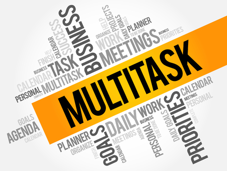Multitask word cloud, business concept background