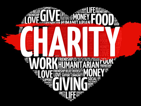 poverty: Charity word cloud.