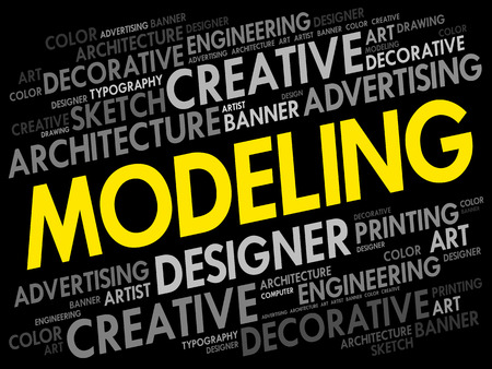 Modeling word cloud, creative business concept background