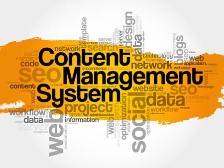 CMS content management system word cloud, business concept Illustration