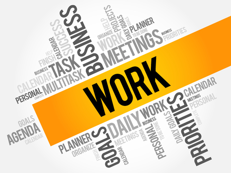 common goal: Work word cloud collage, business concept background Illustration