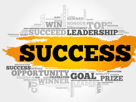 accomplish: Success word cloud, business concept