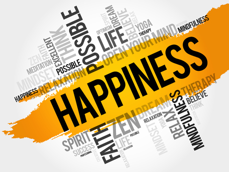 Happiness word cloud collage, concept background 向量圖像