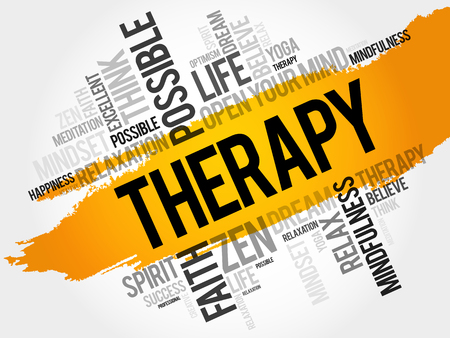 Therapy word cloud collage, concept background