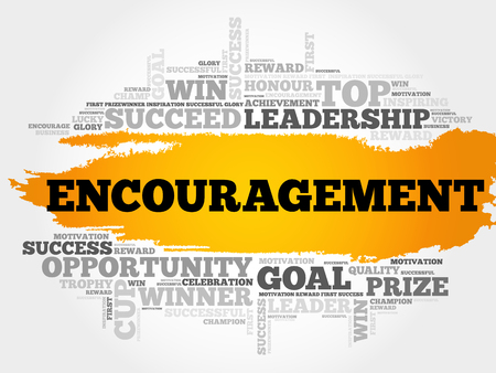 Encouragement word cloud, business concept