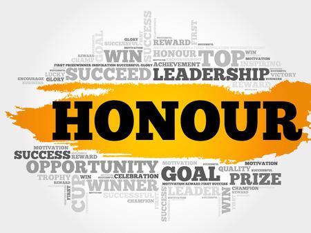 Honour word cloud, business concept