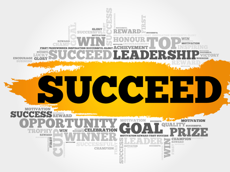 Succeed word cloud, business concept Vectores