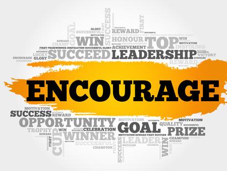 Encourager nuage de mot, concept d'entreprise