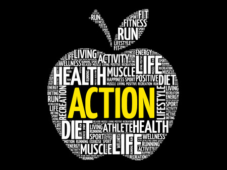 fitness equipment: Action word cloud.
