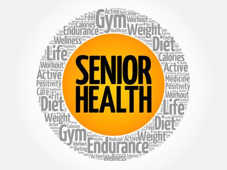 Senior health word cloud collage concept.