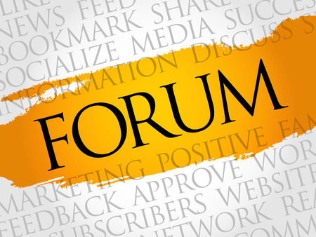 Forum word cloud technology business concept.
