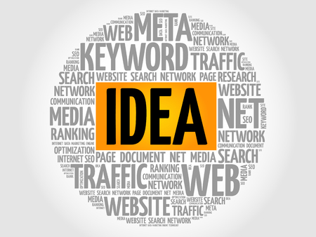 IDEA word cloud collage business concept. Illustration