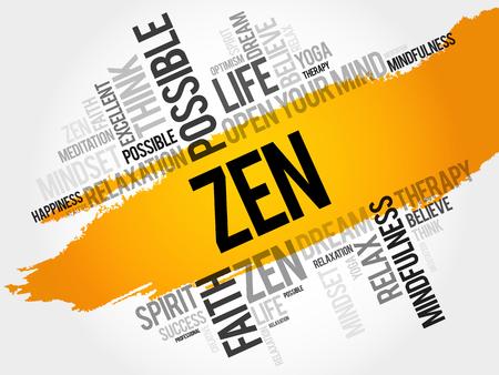 Zen word cloud health concept.