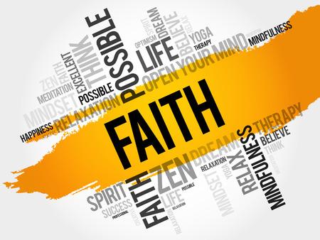 Faith word cloud health concept. Çizim