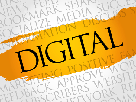 Digital word cloud, technology business concept background.