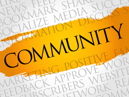 mobile marketing: Community word cloud, technology business concept background.