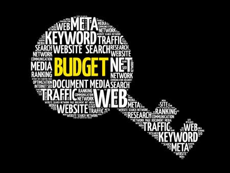 expenditure: BUDGET Key word cloud, business concept Illustration