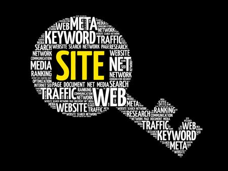 SITE Key word cloud, business concept Illustration