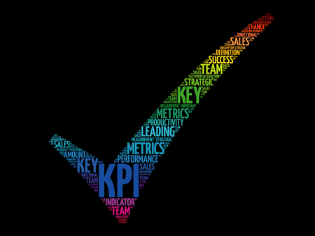 KPI - Key Performance Indicator check mark, business concept words cloud