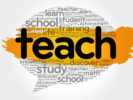 indoctrination: Teach think bubble word cloud, business concept vector illustration.