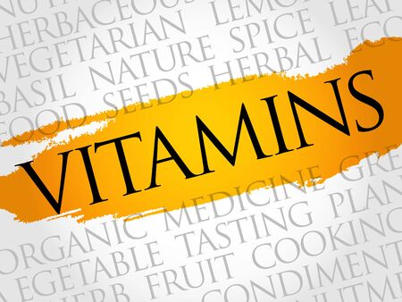 Vitamins word cloud collage, food concept background.