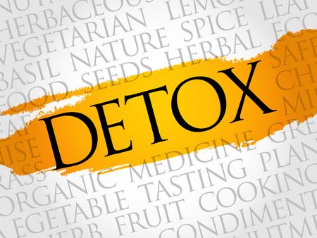 Detox word cloud collage, food concept background. Illustration