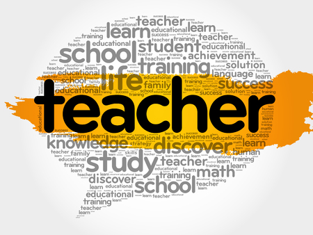 bubble level: Teacher think bubble word cloud, business concept vector illustration. Illustration
