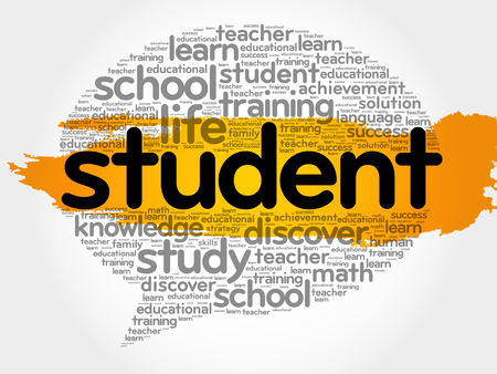 completion: Student think bubble word cloud, business concept vector illustration.