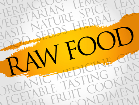 Raw food word cloud collage, food concept background.