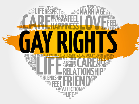 A gay rights word cloud collage, heart concept background.