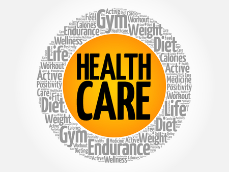 Health care circle word cloud, fitness, sport, health concept on white background.