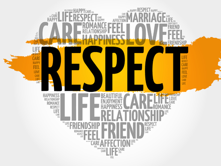 Respect word cloud collage, heart concept pattern Illustration