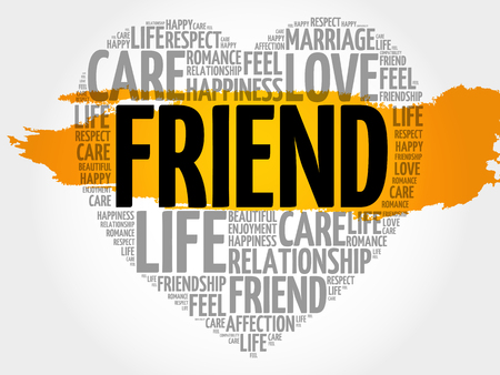 Friend word cloud collage, heart concept pattern