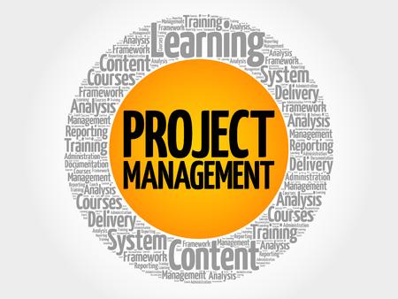 Project Management circle word cloud, business concept