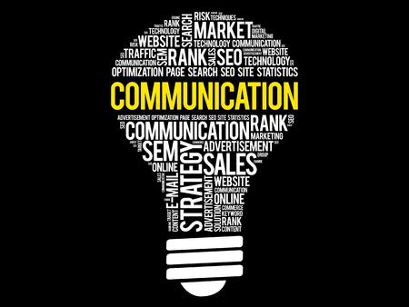 Communicatie de wolkencollage van het bolwoord, bedrijfsconceptenachtergrond
