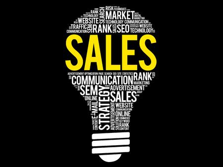 SALES bulb word cloud, business concept