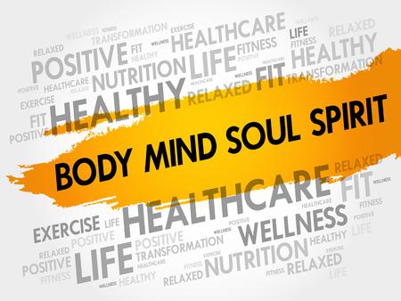 몸 마음 영혼 정신 단어 구름 배경, 건강 개념 일러스트