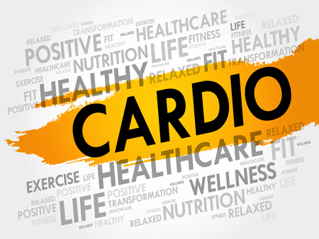 CARDIO word cloud collage, health concept background