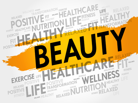 BEAUTY word cloud collage, fitness, sport, health concept