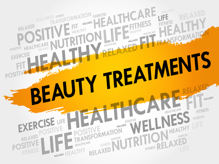 Beauty Treatments word cloud background, health concept Illustration