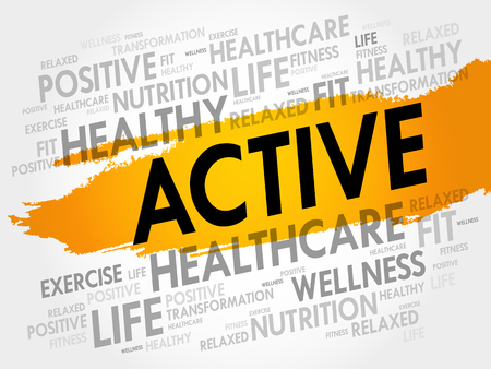 ACTIVE word cloud, fitness, sport, health concept Illustration